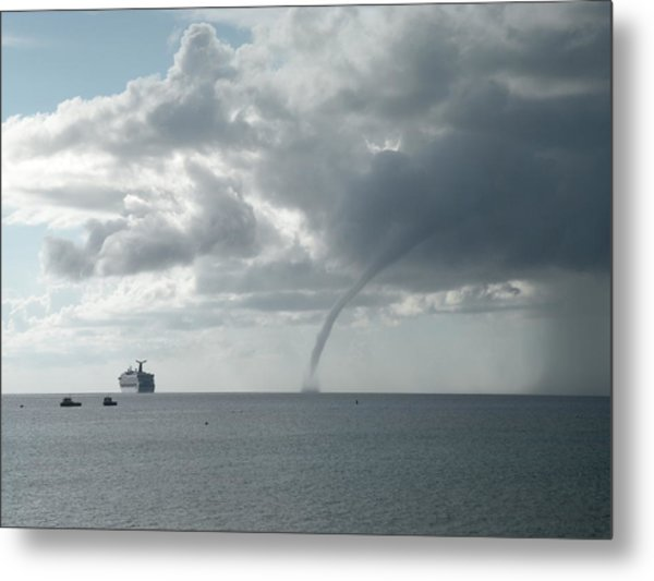 Cayman Water Spout Metal Print by Peter Panagos