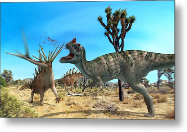 Ceratosaurus And Dacentrurus, Artwork Metal Print by Jose Antonio PeÑas