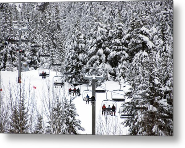 Chairlift In The Snow, Alyeska Ski Resort Metal Print by Mark Newman