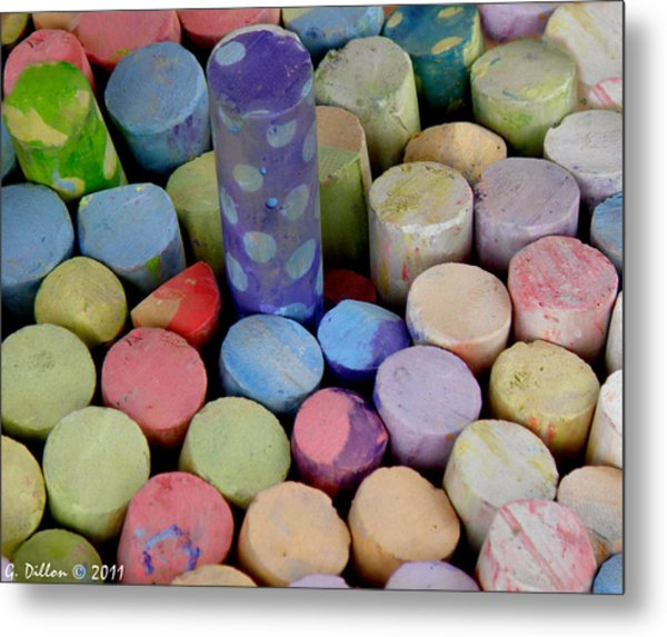 Metal Print featuring the photograph Chalk In Bin by Grace Dillon