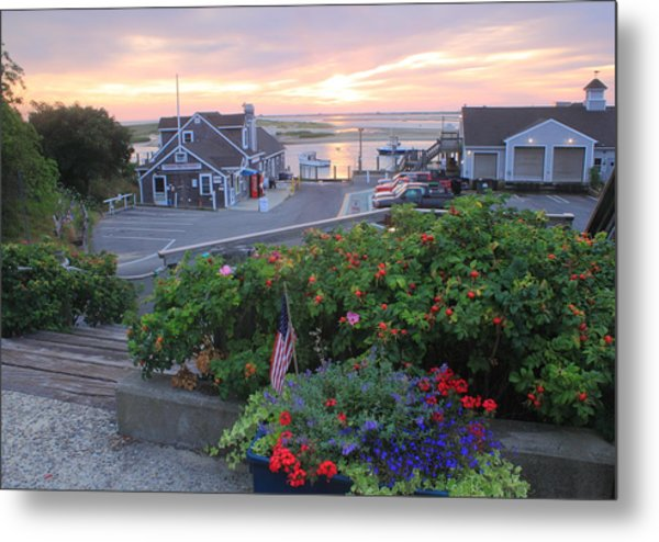 Chatham Fish Pier Summer Flowers Cape Cod Metal Print