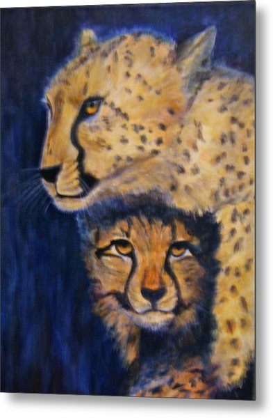 Cheetah Mother And Child Metal Print