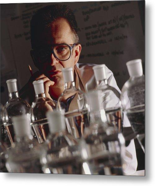 Chemist At Work In His Laboratory Metal Print by Tek Image
