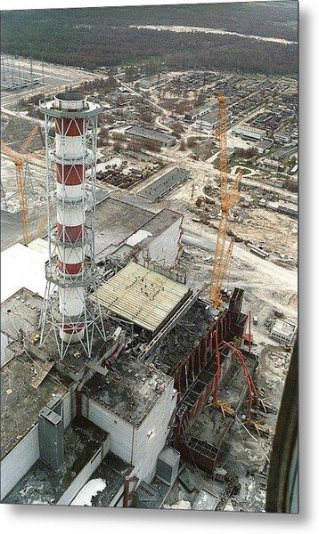 Chernobyl Reactor Clear-up Metal Print by Ria Novosti