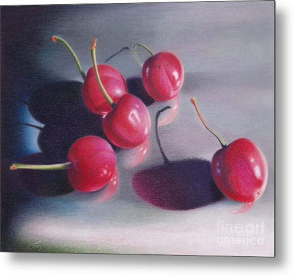Cherry Talk Metal Print by Elizabeth Dobbs