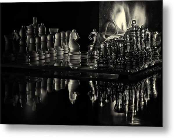 Chess By Candlelight Metal Print