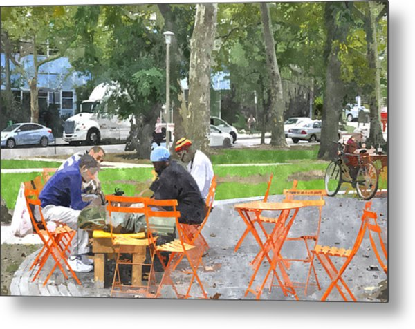 Chess Players In Clark Park Metal Print