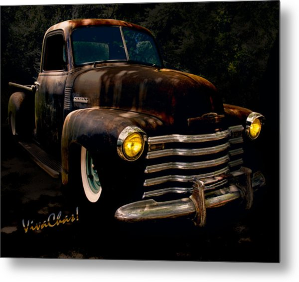 Chevy Hot Rat Rod Pickup Cowgirl's Last Stand Metal Print