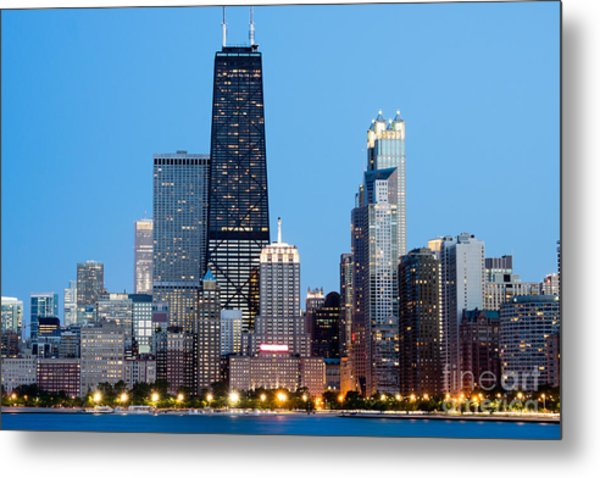 Chicago Downtown At Night With John Hancock Building Metal Print