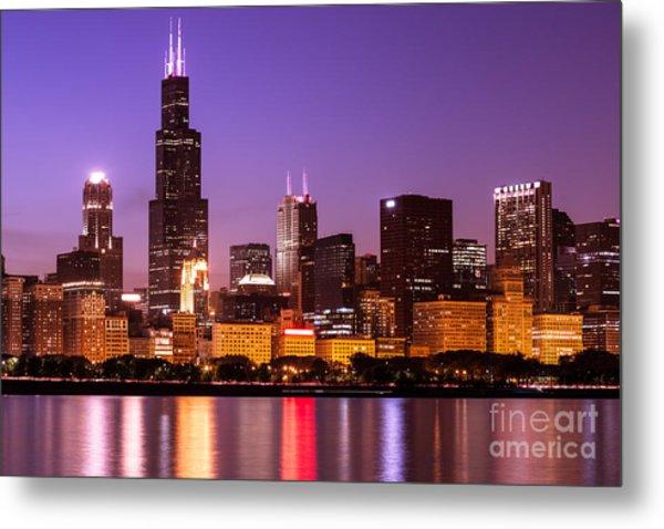 Chicago Skyline At Night High Resolution Image Metal Print