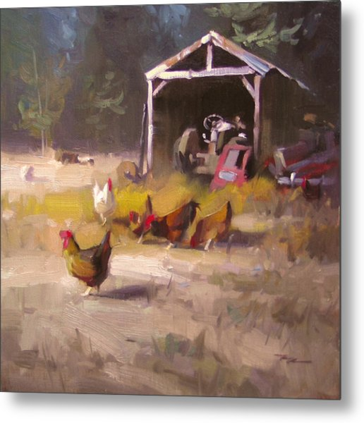 Chickens In Paradise Metal Print by Richard Robinson