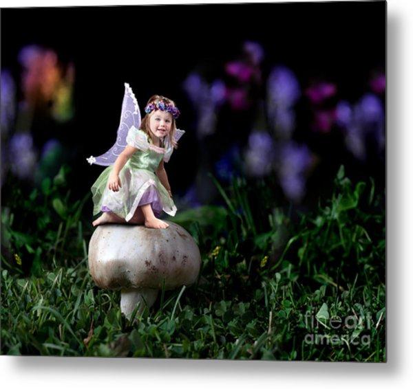 Child Fairy On Mushroom Metal Print