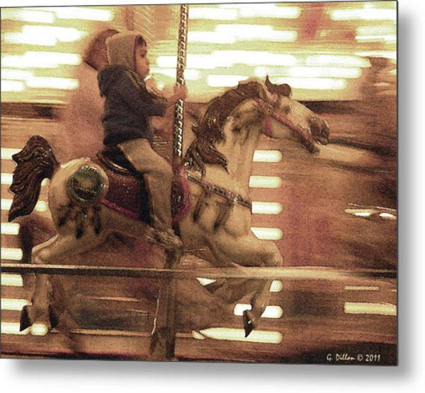 Metal Print featuring the digital art Child On Carousel by Grace Dillon