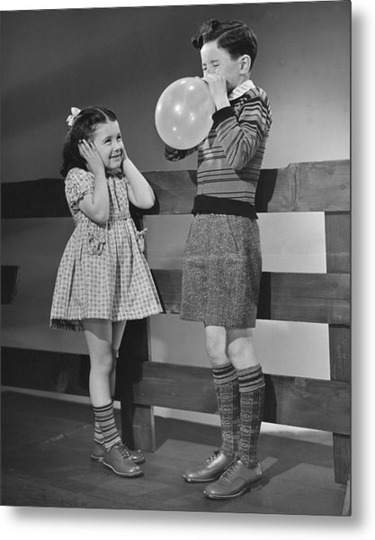 Children Playing With Ballons Metal Print by George Marks