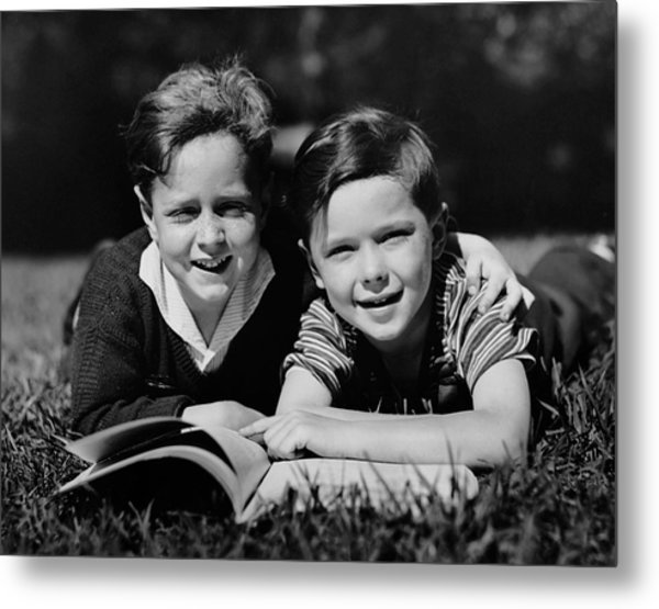 Children W/ Book Outdoors Metal Print by George Marks