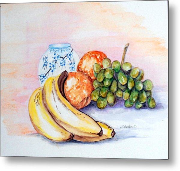 China Vase With Fruit Metal Print by Janna Columbus