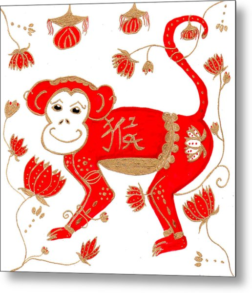 Chinese Astrology Monkey Metal Print