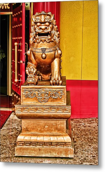 Chinese Lion Dragon-chinatown-nyc Metal Print by Anne Ferguson