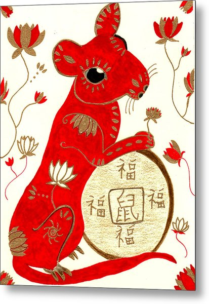 Chinese Year Of The Rat Metal Print