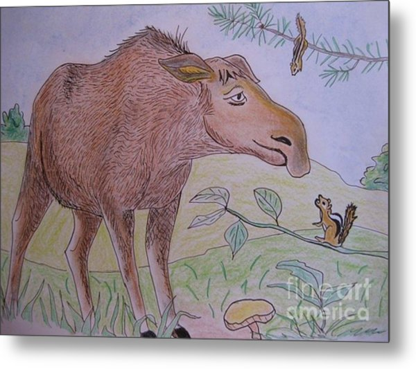 Chipmunks Tease Mildred The Moose Metal Print