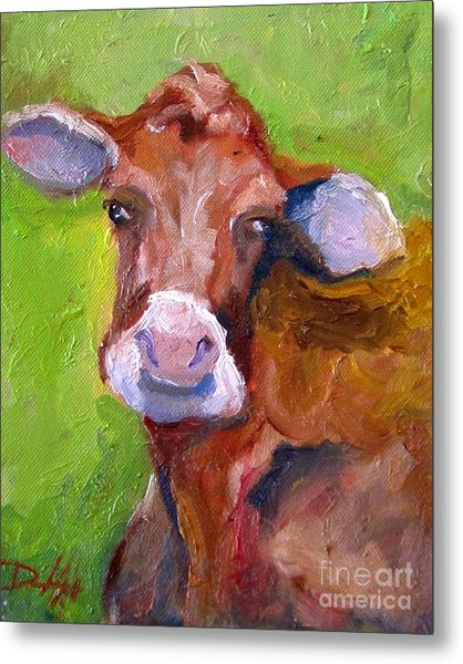 Christmas Cow On Green Metal Print by Delilah  Smith
