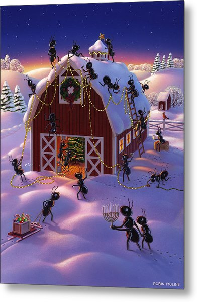 Christmas Decorator Ants Metal Print