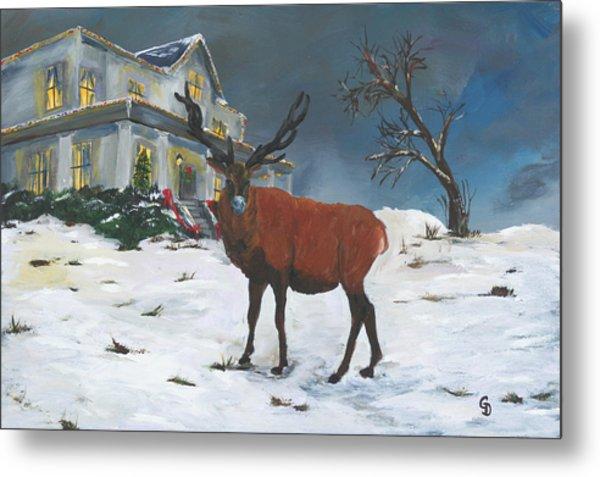 Christmas Elk Metal Print