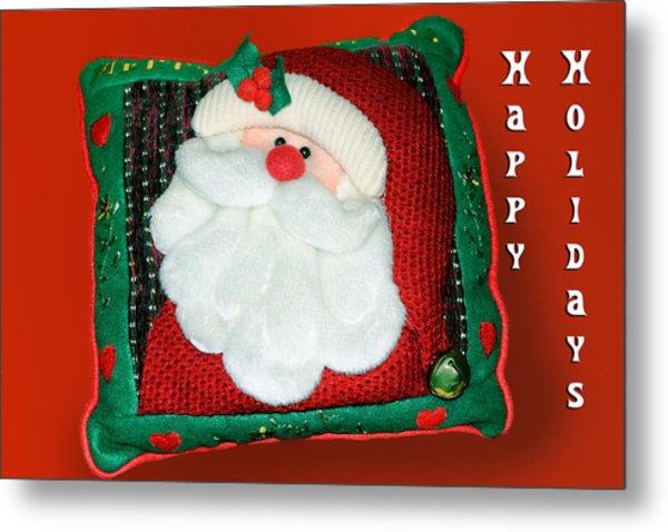 Christmas Santa Pillow Metal Print by Linda Phelps