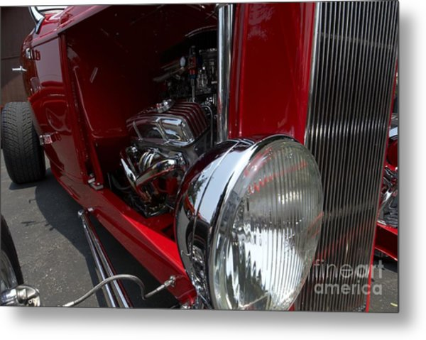 Chrome Engine Vintage Car Metal Print