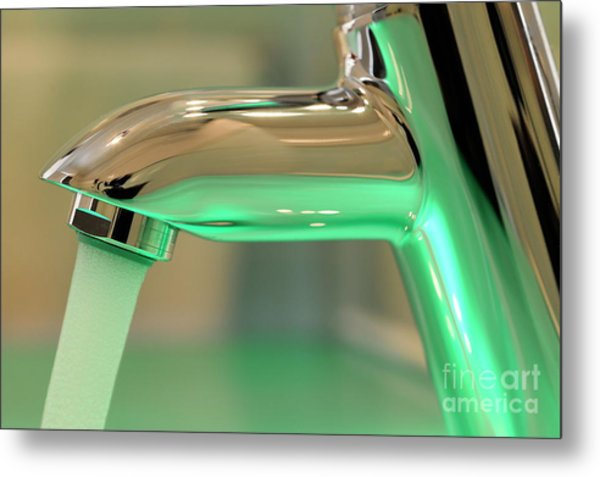 Chrome Sink Tap With Running Water Metal Print by Sami Sarkis