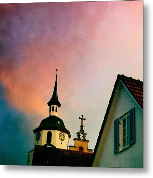 Church And Red Sky At Sunset Metal Print