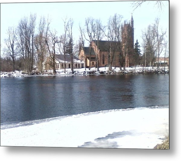 Church By The River Metal Print by Cecelia Taylor-Hunt
