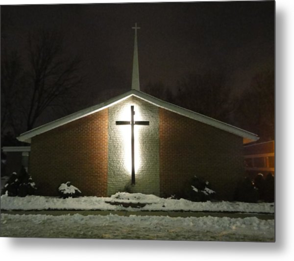 Church In The Snow Metal Print by Guy Ricketts