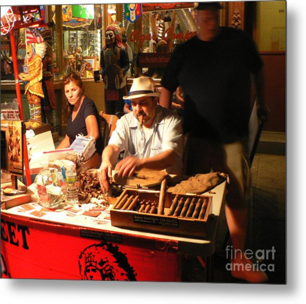 Cigar Roller Little Italy Metal Print by Elizabeth Fontaine-Barr