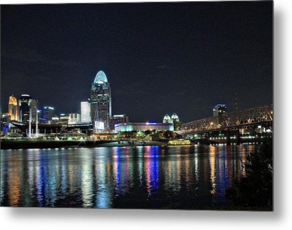 Cincinnati In Lights Metal Print by Tina Karle