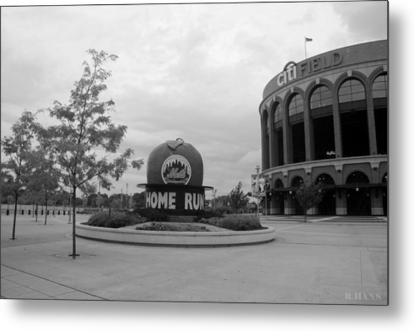 Citi Field In Black And White Metal Print