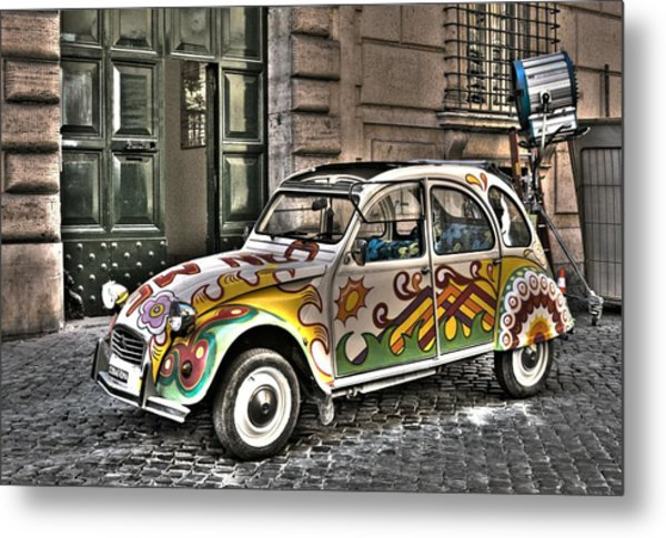 Citroen In Rome Metal Print