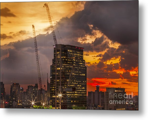 City And Building Under Construction. Metal Print