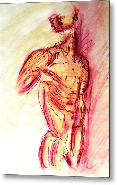 Classic Muscle Male Nude Looking Over Shoulder Sketch In A Sensual Primal Erotic Timeless Master Art Metal Print