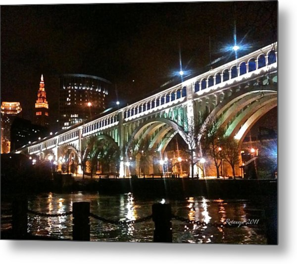 Cleveland Reflection Metal Print by Rotaunja