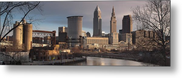 Cleveland Skyline From The Industrial Valley Metal Print by At Lands End Photography