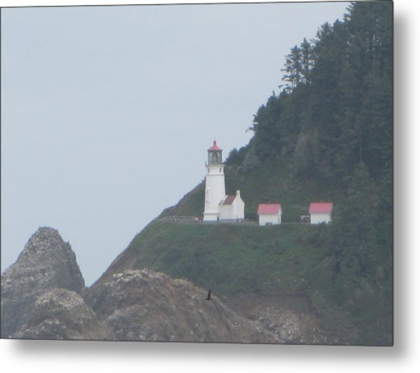 Cliff Side Light House Metal Print
