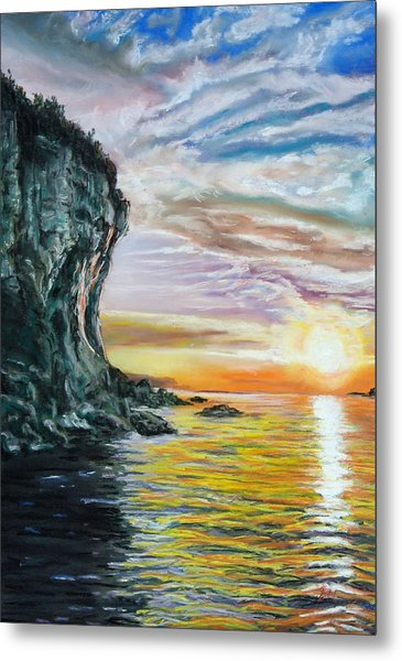 Cliff Sunset Metal Print by Peter Jackson