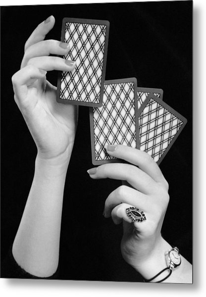 Close-up Of Woman's Hands W/playing Cards Metal Print by George Marks