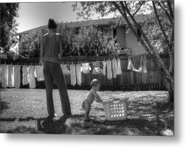 Cloth Diapers On The Line Metal Print by Justin Ellis