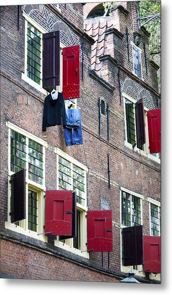 Clothes Hanging From A Window In Kattengat Metal Print
