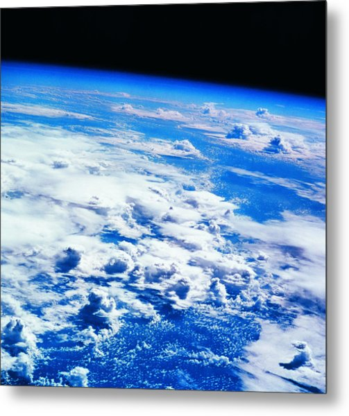 Clouds Over Earth Viewed From A Satellite Metal Print by Stockbyte