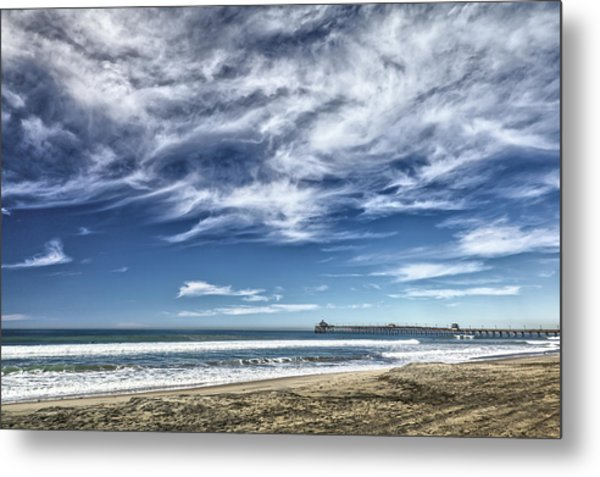 Clouds Over Imperial Beach Pier Metal Print