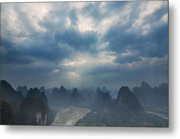 Cloudy Sunset In Guilin Guangxi China Metal Print