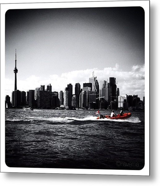 Cn Tower Series: A Touch Of Color Metal Print